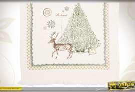 Essuie-mains en coton illustré sur le thème de Noël avec un grand sapin et un cerf