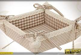 Corbeille en tissu 100 % coton à motifs de carreaux marrons et blancs