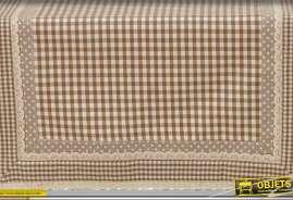 Chemin de table de style rustique campagne chic à carreaux marron et beige