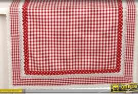 Chemin de table en coton à motifs de carreaux rouges et blancs style campagne chic