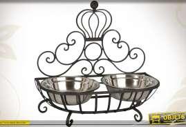 Gamelle pour chiens ou chats, en métal avec deux bols en inox