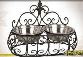 Double gamelle pour chiens ou chats en métal noir antique et inox