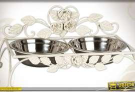Gamelle pour animaux avec double bol en inox et support métal blanc antique de style floral et romantique