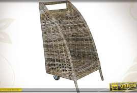 Chariot à bûches vertical et ouvert en poelet gris et métal