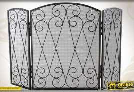 Pare-feu en fer forgé et métal finition noire façon étain antique