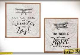 Cadres en bois de 30x30 thème voyage et aviation des années 30