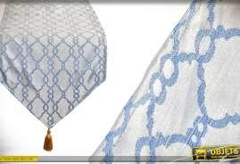 Chemin de table en polyester déclinaison de bleu et touche doré 135cm