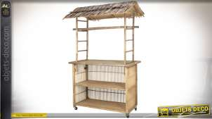 Meuble-bar mobile en bois et bambou de style exotique 2,07 mètres