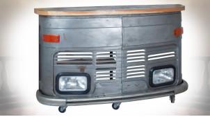 Meuble-bar en forme de calandre de camion en bois et métal 166 cm