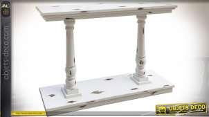 Console blanche à deux colonnes en balustres blanc vieilli 120 cm