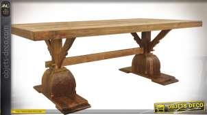 Grande table Monastère de style rustique en teck massif 250 cm