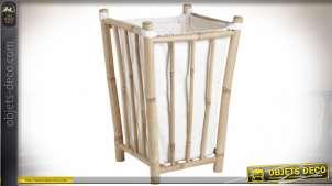 Panier à linge de style exotique en bambou et coton