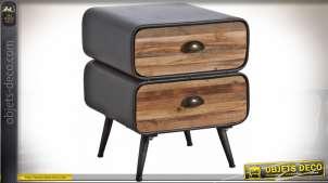 Table de chevet industrielle et vintage à deux tiroirs en bois et métal 50,5 cm