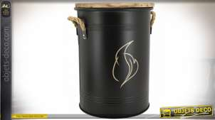 Seau à pellets en métal laqué noir mat motif flamme dorée