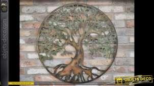 Grande décoration murale circulaire rétro en métal d'arbre stylisé Ø 87 cm