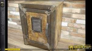 Table de chevet en forme de coffre fort ancien en bois et métal style industriel