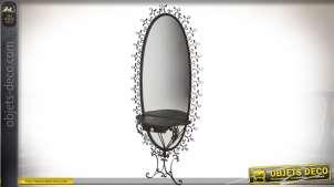 Miroir style fer forgé noir ovale avec étagère en demi-lune 1,98 mètre
