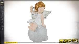 Grande figurine d'ange blanc ailé avec lanterne 42 cm