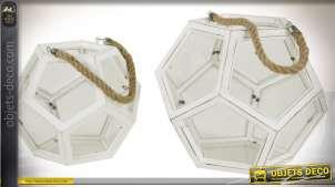 Lanterne blanche polyèdre à faces vitrées en pentagones coloris blanc vieilli Ø 35 cm