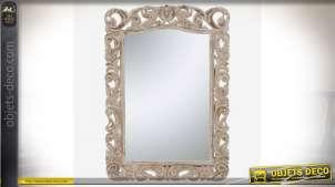 Grand miroir en bois sculpté à motifs de feuillages ajourés style baroque 152 cm