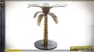 Table circulaire avec pied en palmier en métal doré et plateau en verre 71 cm