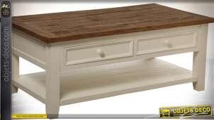 Table basse de style anglais coloris crème et bois vieilli 114 x 60 cm