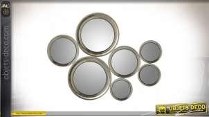 Décoration murale à 7 miroirs ronds finition argent vieilli 64 x 46 cm