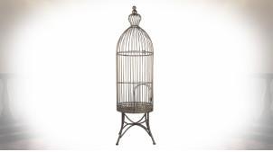 Grande cage à oiseaux vintage en métal sur pieds Ø 30*107 cm