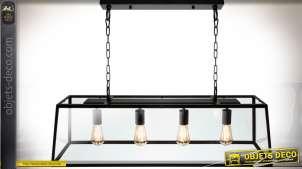 Suspension de billard noire indus et rétro en verre et métal 100 cm