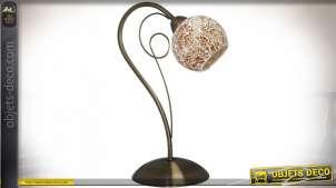 Lampe de table style Art Déco avec réflecteur en verre craquelé orangé 34 cm