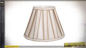 Abat-jour conique en tissu plissé coloris beige clair et doré Ø 20 cm