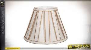 Abat-jour conique en tissu plissé coloris beige clair et doré Ø 30 cm