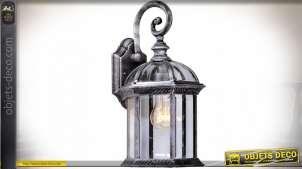 Lanterne extérieur applique murale de style rétro patine argentée vieillie 41 cm