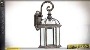 Lanterne suspendue applique murale en verre et aluminium finition bronze vieilli 41 cm