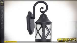 Lanterne extérieur en aluminium et verre style rétro patine noire 30 cm
