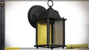 Lanterne murale extérieur en applique coloris noir format rectangulaire style rétro
