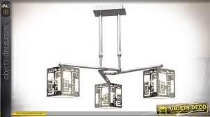 Suspension design avec 3 réflecteurs cubiques argentés à motifs géométriques en ajours Ø 50 cm