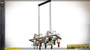 Suspension originale en forme d'étagère en métal de bodega suspendue avec 12 bouteilles 78 cm