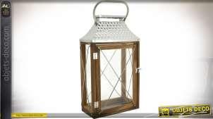 Lanterne de décoration en bois vieilli et métal argenté 47 cm