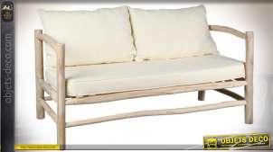 Canapé de style rustique en teck avec coussins d'assise et de dossier en coton coloris écru 140 cm