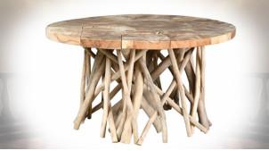 Table basse circulaire plateau en teck et piètement en racines de teck Ø 80 cm