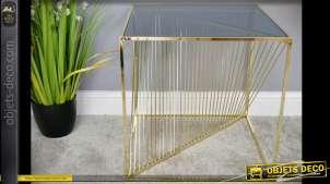 Bout de canapé design métal doré brillant et verre trempé fumé