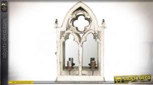 Applique murale blanche de style gothique en bois et miroir 49 cm