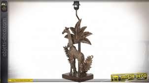 Pied de lampe effet bronze doré vieilli en forme de statuette de girafe 55 cm