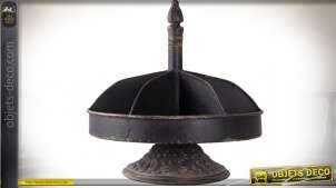 Grand plateau serviteur muet compartimenté métal noir vieilli Ø 30 cm