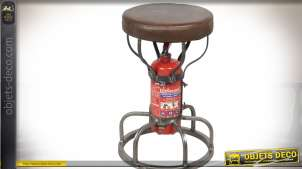 Tabouret industriel en métal avec assise similicuir et piètement en forme d'extincteur 51 cm