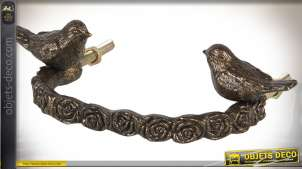 Poignée de tiroir en métal vieilli torsadé motif oiseaux 13 cm