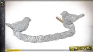 Poignée de tiroir en métal gris blanc vieilli motif oiseaux 13 cm