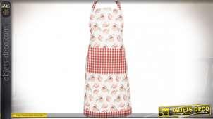 Tablier de cuisine en coton motifs pommes et carreaux Vichy 70 x 85 cm
