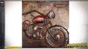 Grande décoration murale en métal et en relief : ancienne moto 100 x 100 cm